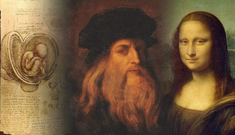 Studies of embryos, Portrait of Leonardo da Vinci, and the Mona Lisa
