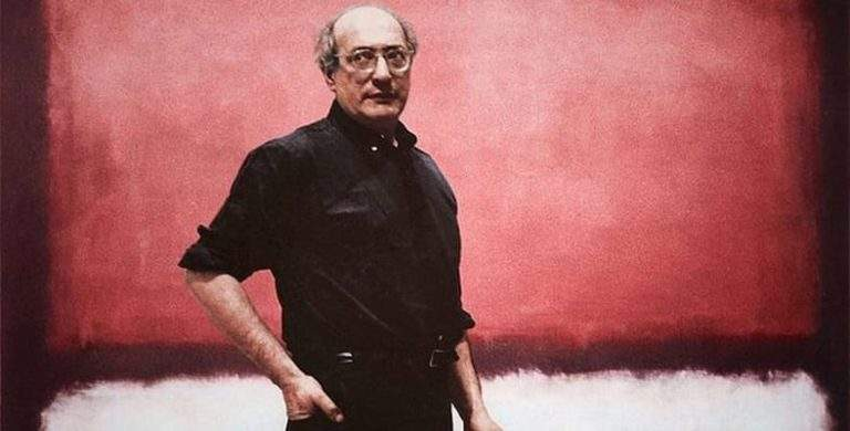 Mark Rothko in his studio in front of his painting No. 7, 1960.
