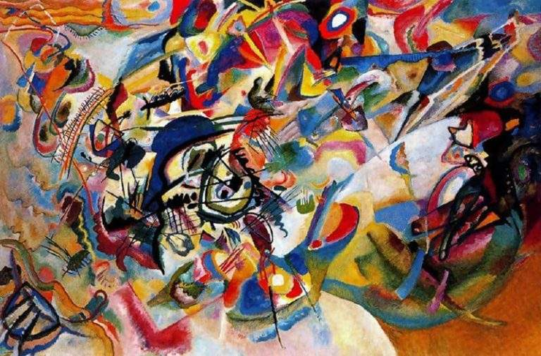 Composition VII, Wassily Kandinsky, 1913, Tretyakov Gallery, According to Kandinsky, the most complex piece he created.