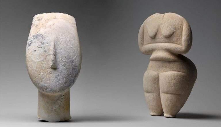 Cycladic Sculptures, two figures, ancient greek