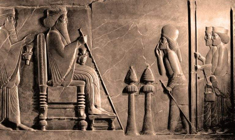 Enthroned Darius with Xerxes behind - central relief of the Persepolis Apadana, found in the treasury