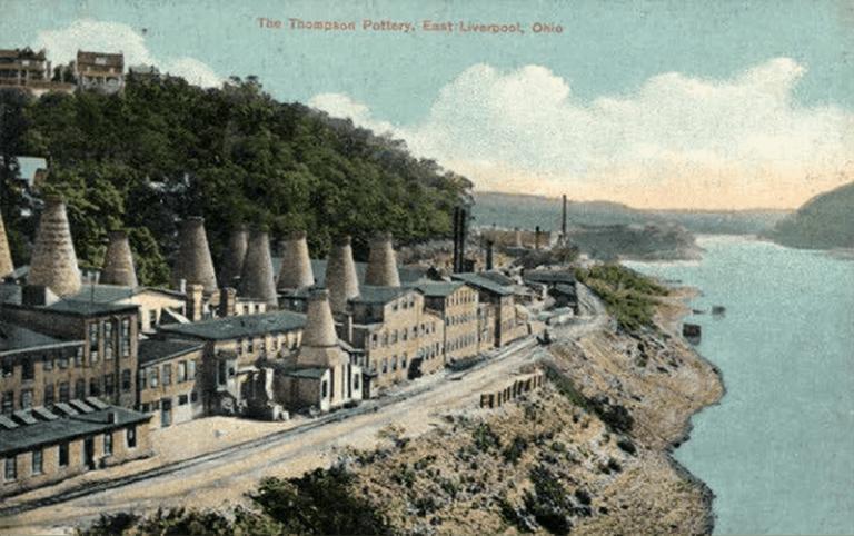 The Thompson Pottery, and Ohio River circa 1910.