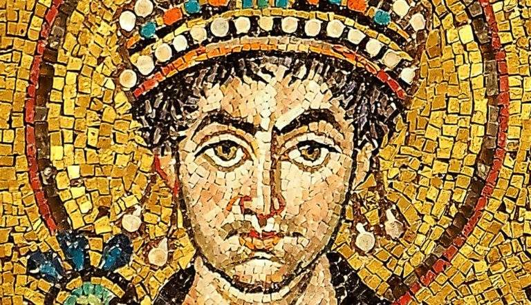 Detail of a contemporary portrait mosaic in the Basilica of San Vitale, Ravenna