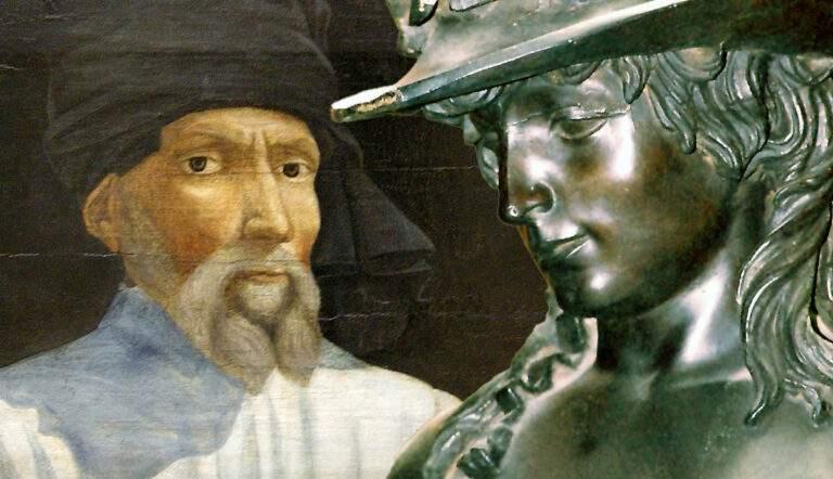 Portrait of Donatello with bronze David sculpture