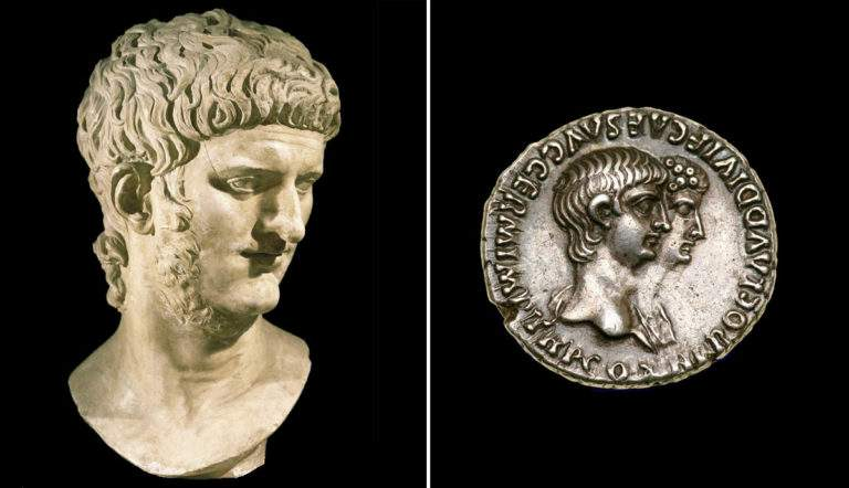 Bust of Emperor Nero with silver coin