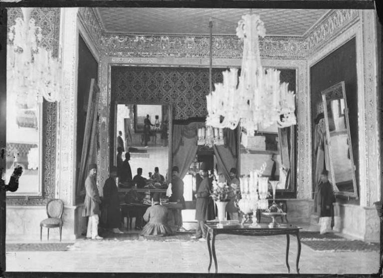 Nasir al-din Shah at his Desk, Antoin Sevruguin, c. 1900, Smith College.
