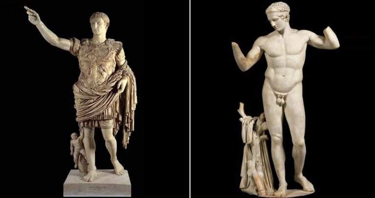 Clothed Roman Emperor vs. naked Greek athlete, via Rome on Rome
