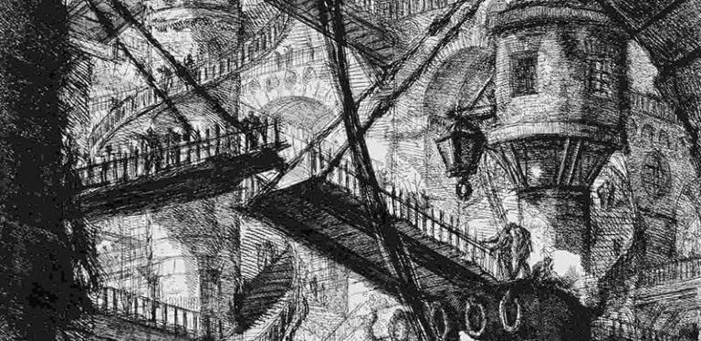 Piranesi, The Pillar with the Chain, Detail, Carceri d'Invenzione, 1760. Etching on paper