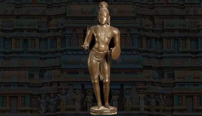 Indian Bronze Idol depicting Saint-Thirumangai Alwar