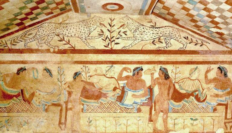 Wall painting from the Tomb of the Leopards in the necropolis at Tarquinia in Italy showing a banquet scene.