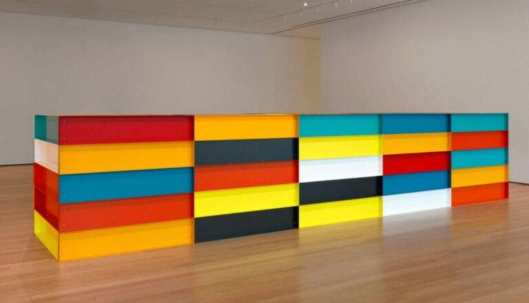 Untitled work in enameled aluminum, by Donald Judd