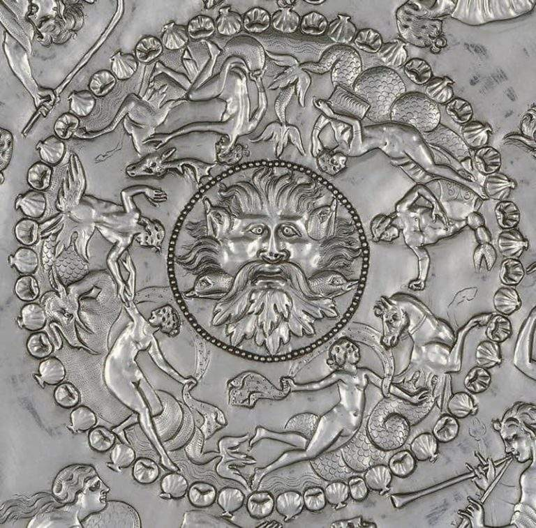 The Great Dish from the Mildenhall treasure, Romano-Celtic, 4th century A.D, depicting various deities, courtesy British Museum