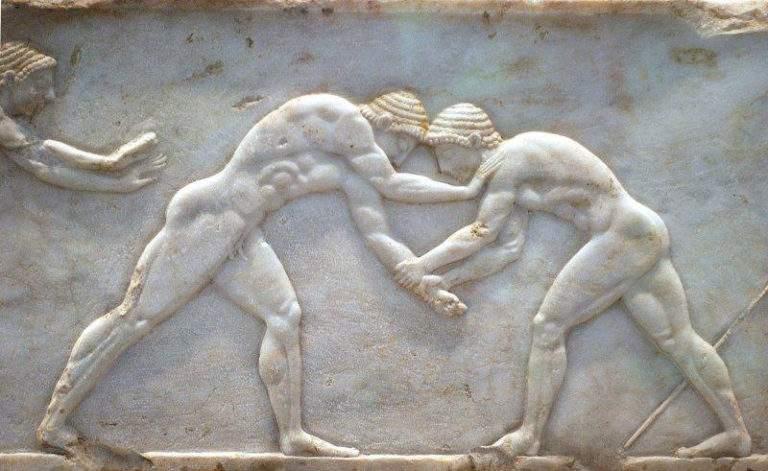 Marble sculpture of ancient Greek wrestlers