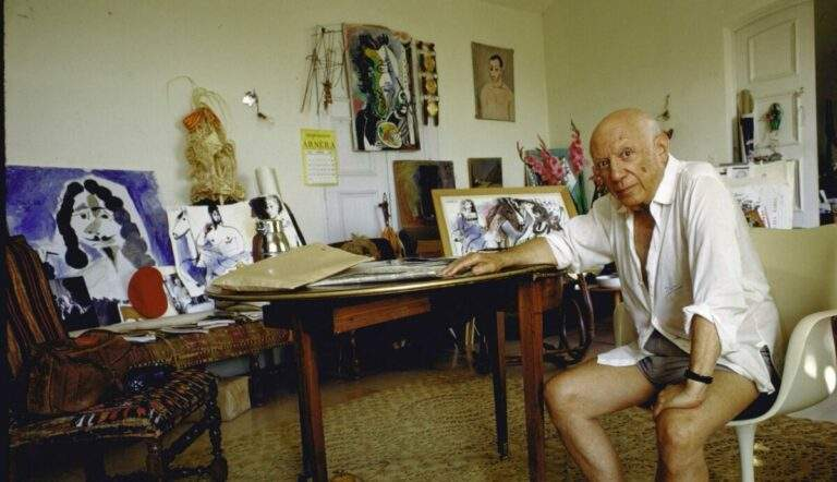 Pablo Picasso, photographed at home