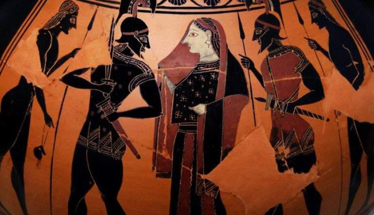 Attic black-figure amphora depicting Menelaus leaving Troy with Helen, 6th century BC, Antikensammlung, Berlin
