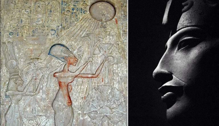 Relief of Akhenaten, Nefertiti and Two Daughters Adoring the Aten, 1372-1350 BCE