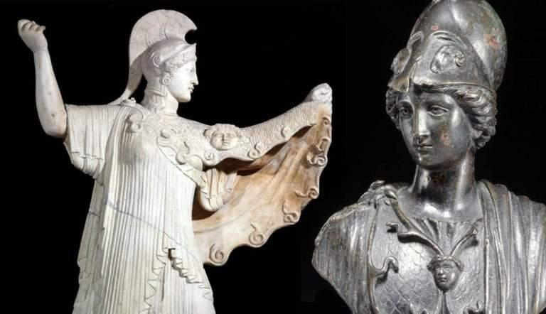 athena promachus and bronze bust minerva
