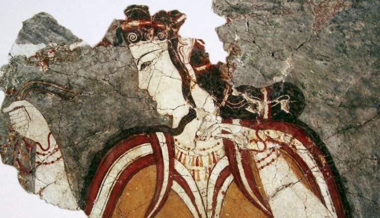 mycenean fresco woman profile