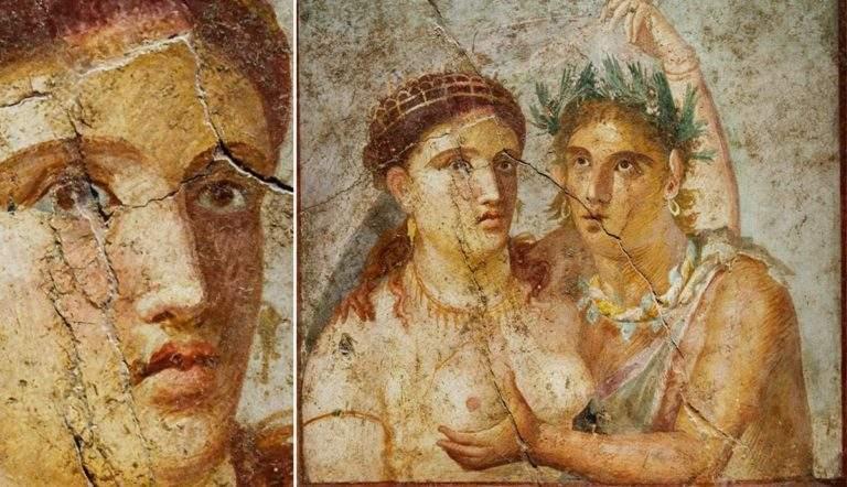 pompeii fresco satyr maenad
