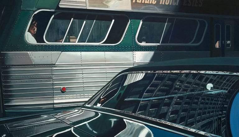 bus reflection flatiron building richard estes