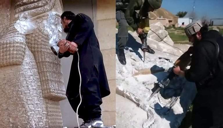 Destruction jackhammer lamassu Nineveh and Nimrud by Daesh Isis