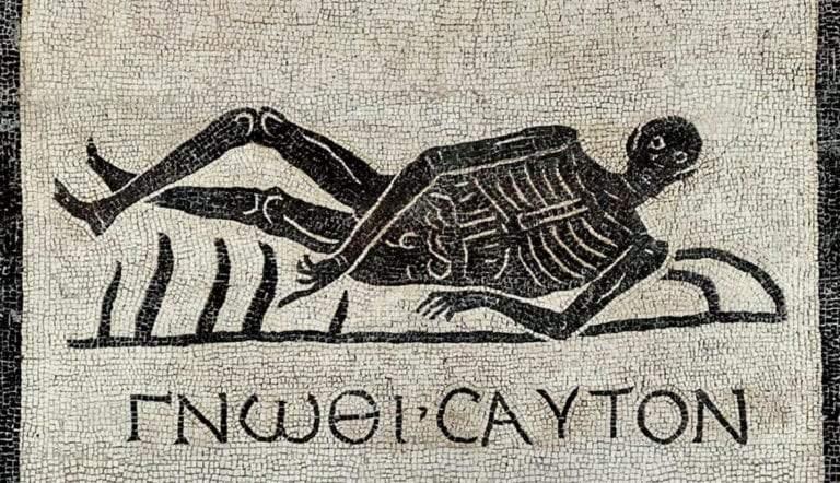 roman floor mosaic skeleton know thyself
