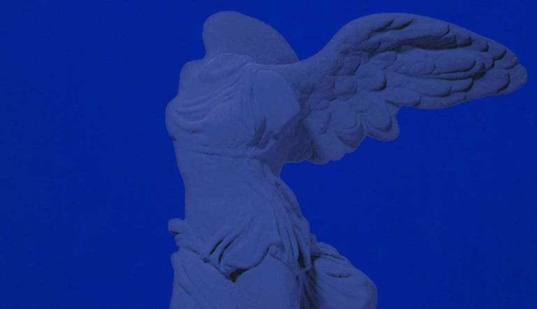 victory samothrace yves klein blue