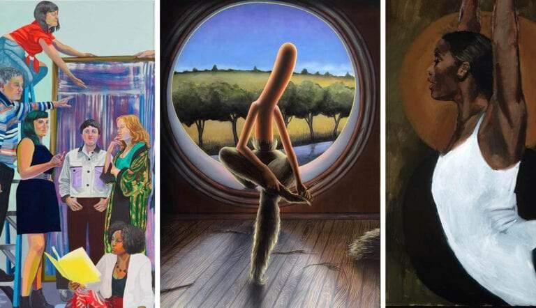 three contemporary figurative paintings