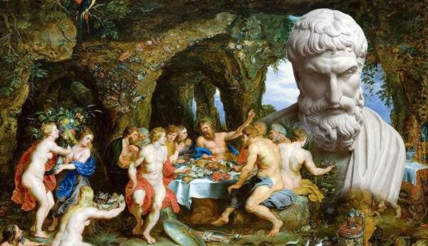epicurus philosopher portrait sculpture rubens feast painting