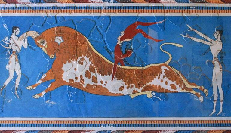 Minoan Bull-Leaping Fresco from the palace of Knossos, via Ancient Origins