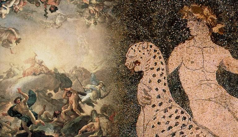 god dionysus pella mosaic battle of giants