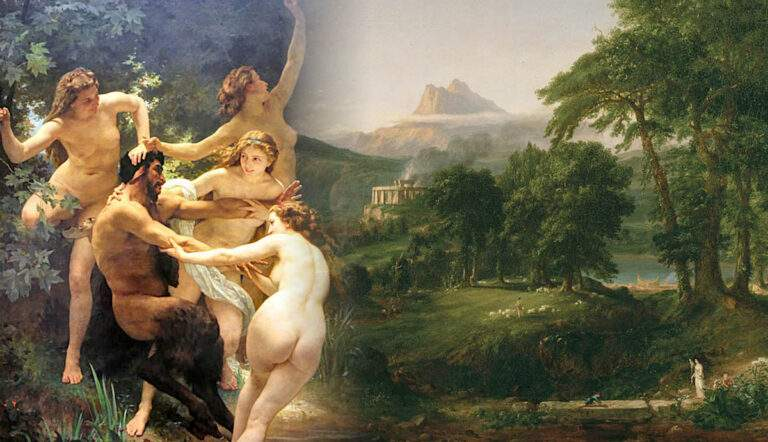 god pan nymphs satyr painting with arcadian pastoral
