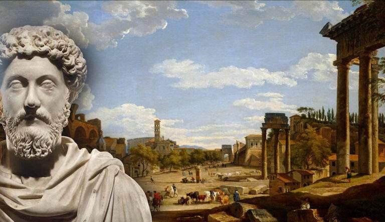 roman forum and bust marcus aurelius stoicism