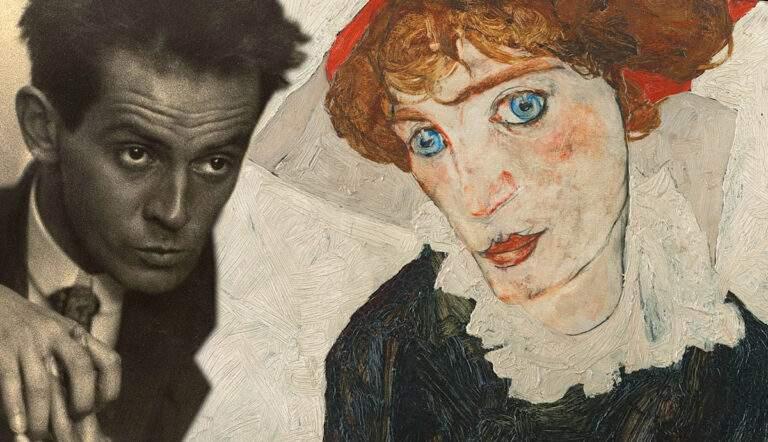 Egon Schiele with portrait