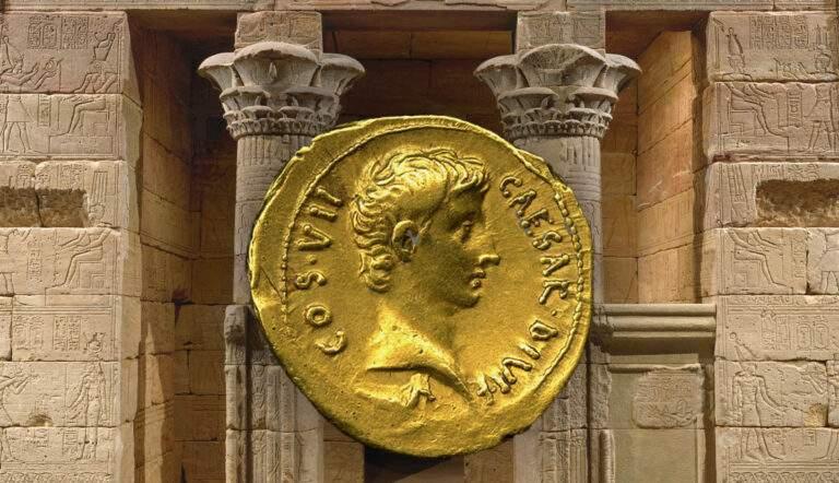 ancient coin augustus gold temple dendur petronius