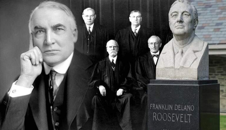 great depression roosevelt harding supreme court