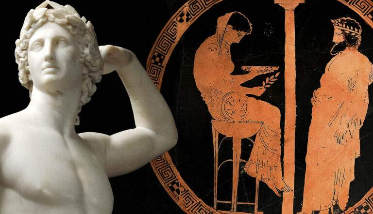 pythia delphi greek vase painting canova apollo marble statue